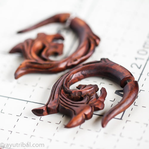 Bali ethnic carving fake gauge wood earrings AA061