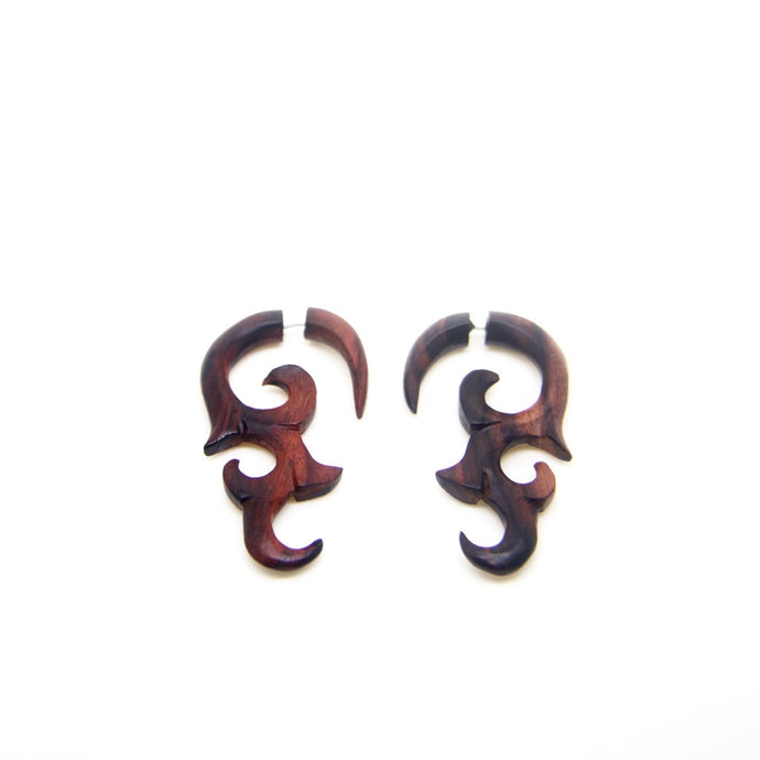 Fake gauge wooden earrings AA022