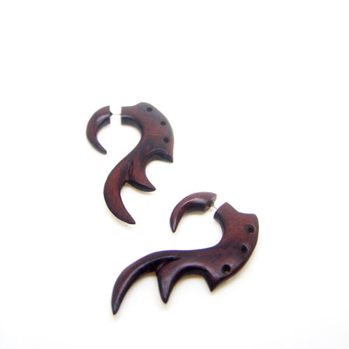 Fake Gauge Earrings, Tribal Organic Faux Taper Ear Stretcher Gauges AA024