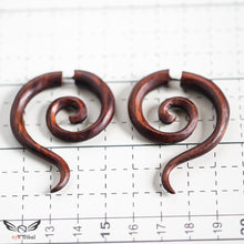 Fake gauge earrings, double spiral w/ tail fake ear gauges AA048