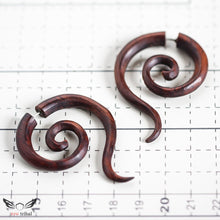 Fake gauge earrings, double spiral sono wood carving AA048