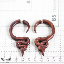 Large fake gauge wood earrings, abstract snake AA122