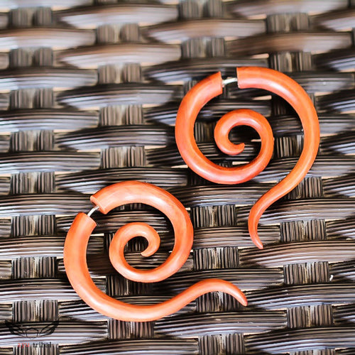 Double spiral tailed fake ear gauges, fake gauge earrings AC048