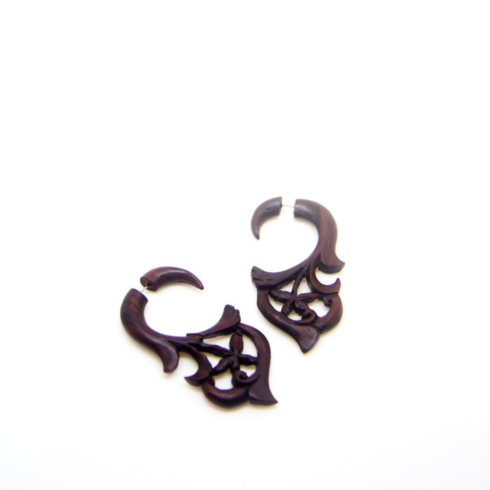 Fake gauge wooden earrings AA037