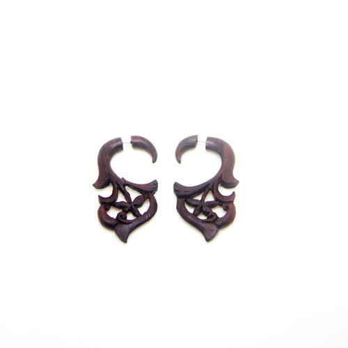 Hippie style pentagram carving cheater earrings AA037
