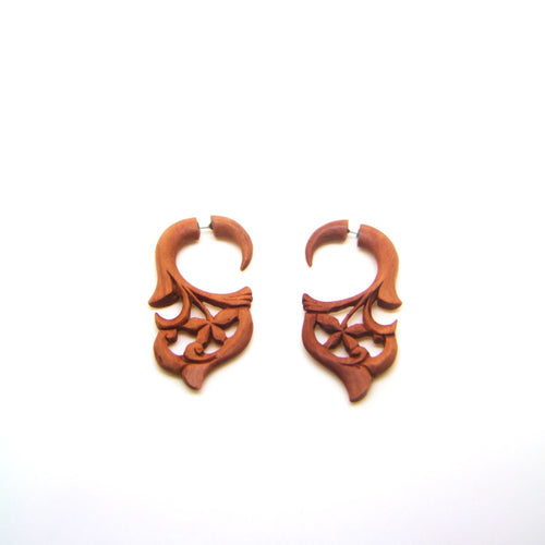 Pentagram carving fake gauge earrings AC037