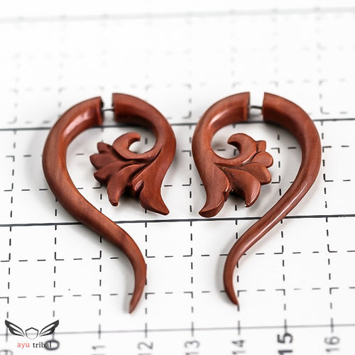Tribal taper faux wooden gauges, saba wood hippie fake gauge earrings AC070