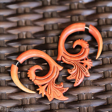 Ethnic fake gauge earrings, saba wood tribal style faux gauges ac066
