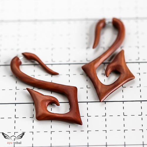 Saba wood fake gauge earrings, square spiral hanger faux gage ear weight AC069
