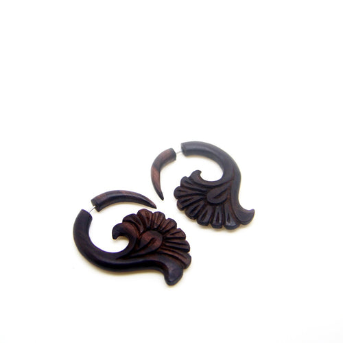 Ethnic wood carving faux ear weight aa029