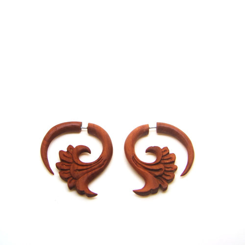 Ethnic Saba Wood Carving Fake Gauge Earrings AC029