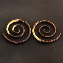 Ayu Tribal Jewelry | Tribal spiral fake ear weight, faux gage tapers wood earrings
