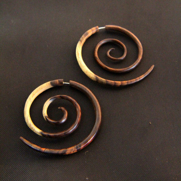 XXL Fake Gauge Earrings, Natural Multi Tone Wooden Spiral Earrings