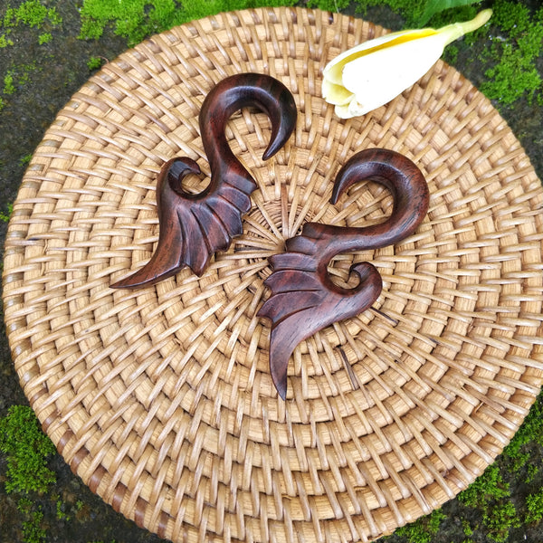 0 Gauge 8mm Tribal Ear Weight, 0g Feather Carving Wood