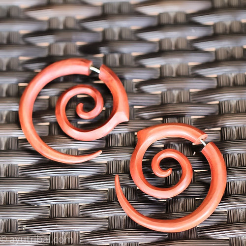 light-red double spiral saba wood fake gauge earrings, faux ear plugs ac049