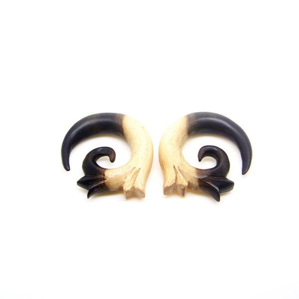 12mm 0000 gauge tribal spiral wooden earrings, 0000g multi-color wood gauges BB054-12