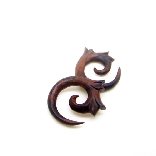 00 gauge wood plugs, tribal spiral 7/16