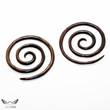 2 gauge triple spiral taper plugs, 6mm 2ga large wooden gauges ba040-06