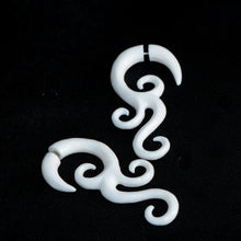 Fake Gauge Earrings, Tentacle Bone Carving Tribal Faux Ear Weights A142