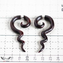 Tribal spiral faux gage wooden earrings AA063