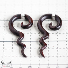 Tribal spiral fake gauge wood earrings AA063
