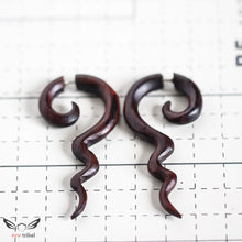 Spiral with long tail fake gauge wooden earrings AA063