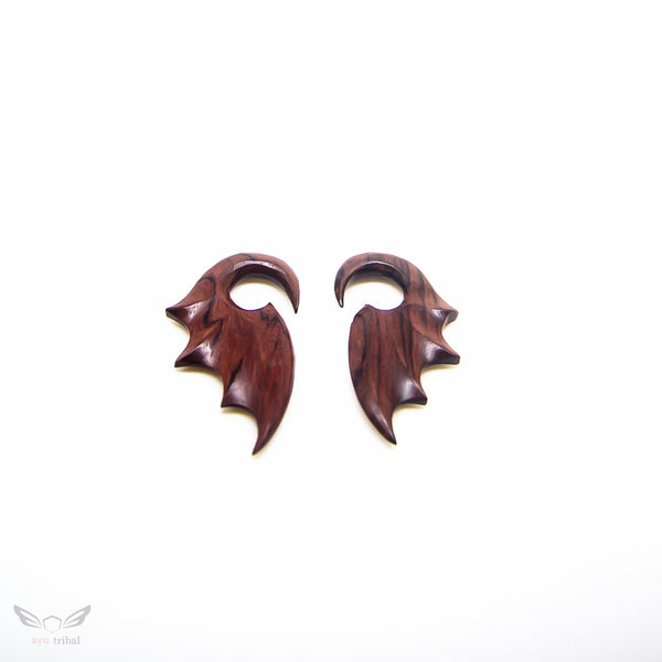 2 gauge wood earrings, sono wood 6mm 2g bat wing plug gauges ear hanger BA091-06
