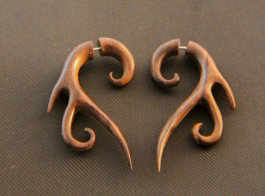 Abstract Tribal Root Carving Faux Gauges, Fake Tapers Wood Earrings AA002