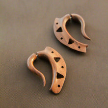 Fake Gauge Wood Earring, African Tribal Carving Faux Piercing Gauges AA072