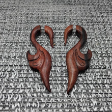 Bali tribal leaves carving cheater ear weights, faux gage wood earrings AA017
