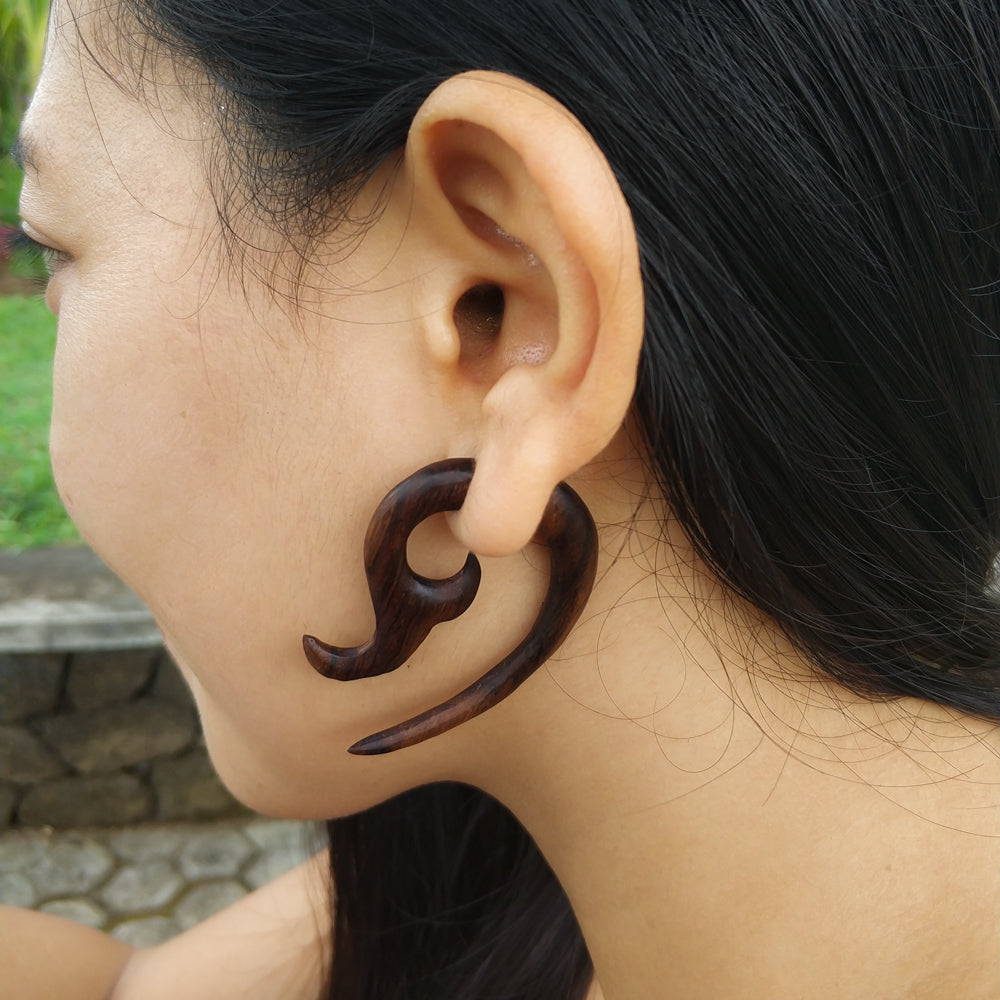 Faux gauge wood earrings, fake ear taper AA071