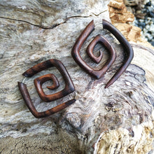 Double spiral hippie style fake  gauge sono wood earrings AA135