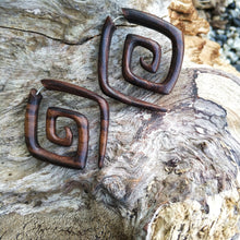 Faux ear weights, double spiral fake gauge tribal earrings AA135