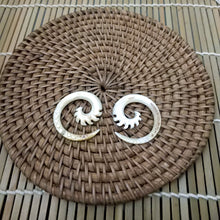 Bali tribal style carving sea shell ear weights