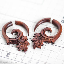 Ethnic fake gauge wooden earrings, tribal style faux ear weights AA066