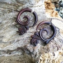 Ethnic intricate carving semi spiral fake gauge earrings AA066