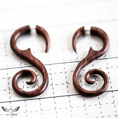 Ayu Tribal Organic sono wood fake gauge earrings AA053