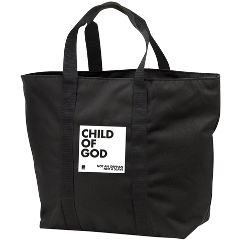 Child of God Black Zippered Shopping Bag with black straps