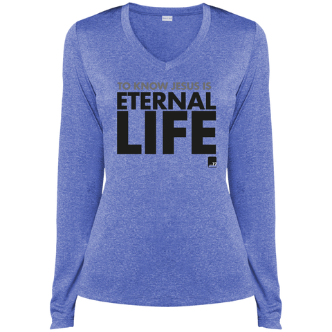 To Know Jesus Ladies' True Royal Dri-Fit V-Neck Long Sleeve