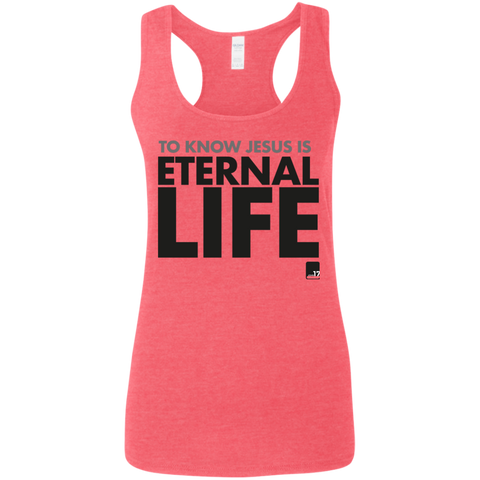 To Know Jesus Ladies' Heather Red Racerback Tank