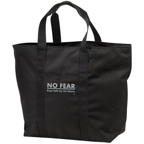 No Fear Black Zippered Shopping Bag with black straps