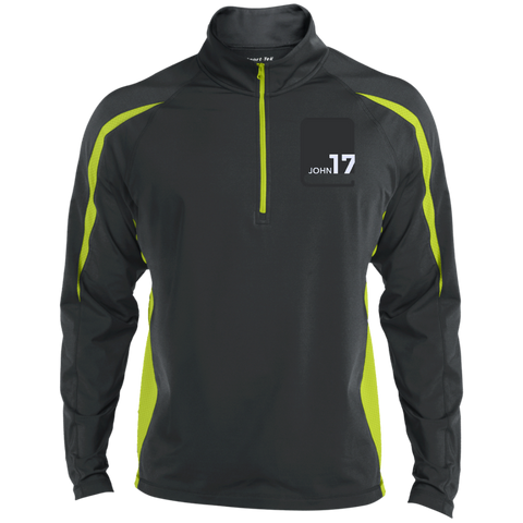 John17 Men's Charcoal Grey/Charge Green Athletic 1/2 Zip
