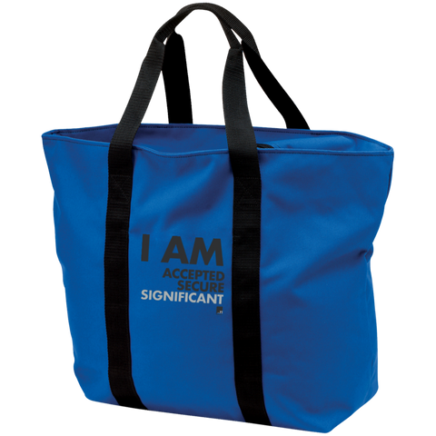 I am Significant Zippered Black straps on Royal Blue Shopping Bag