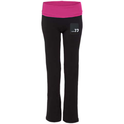 John 17 embroidered Ladies' Black/Fuchsia Exercise Pants