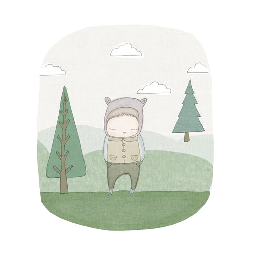 Bear in the forest print. Animal wall art that makes the perfect finishing touch to your nursery. And makes a great gift.