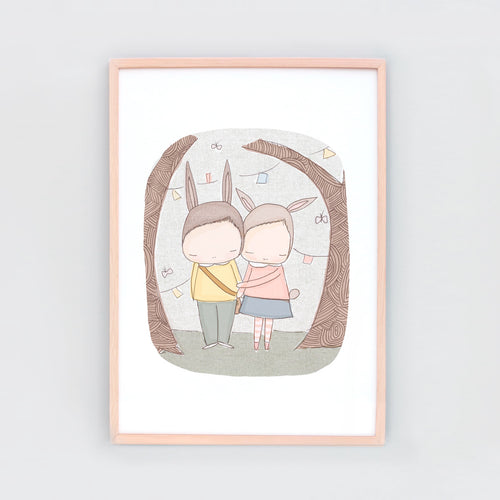 Best of Friends Bunnies. Animal wall art that makes the perfect finishing touch to your nursery. And makes a great gift.