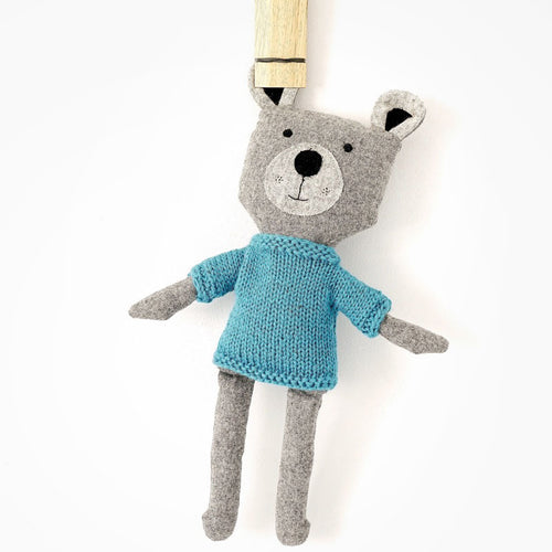 And the Little Dog Laughed Basil Bear Soft Toy with blue jumper