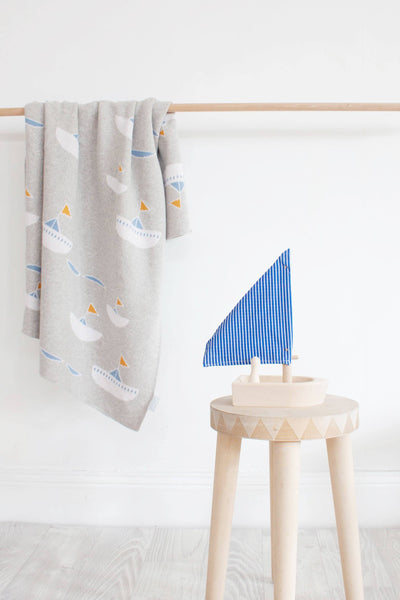 Modern baby boy blanket in premium cotton fabric. Australian designed.