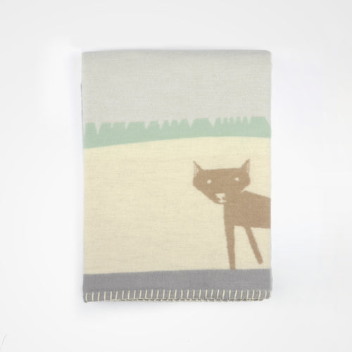 Bambi meets fox - folded view of baby blanket by David Fussenegger.