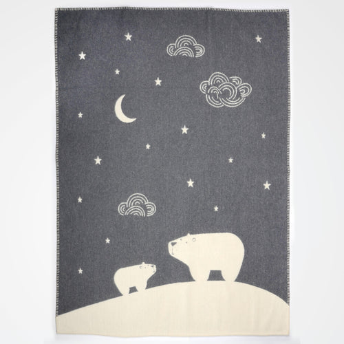 Flat lay of grey polar bear David Fussenegger blanket.